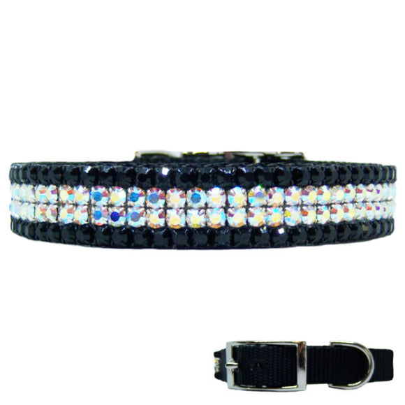 Aurora borealis and black crystal dog collar