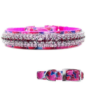 Fancy dog collar with bright hearts and crystrals