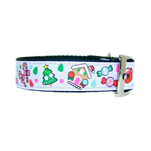 Candy Christmas Dog Collar side view