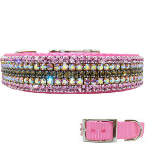 Pink dog collar with chocolate brown and pink crystals
