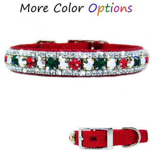 Christmas Cheer Dog Collar with emerald, red and silver crystal bling.