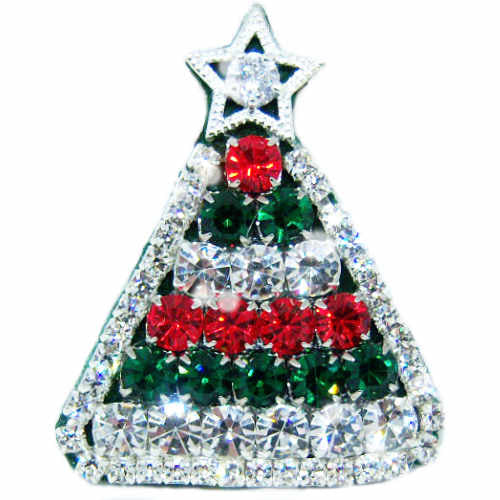 Christmas Tree Brooch with Bling - Dog Collar Fancy - dog-collar-fancy