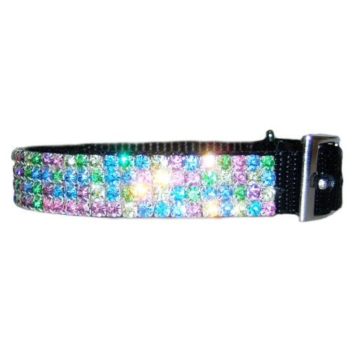 Pastel Pretty Jeweled Pet Collar For dogs and cats side view