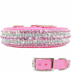 Sweet pink cotton candy crystal dog collar