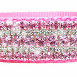Cotton candy crystal dog collar close up crystals