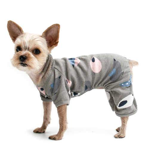 Sweet Birdies Dog Pajamas in gray, blue and pink bird prints