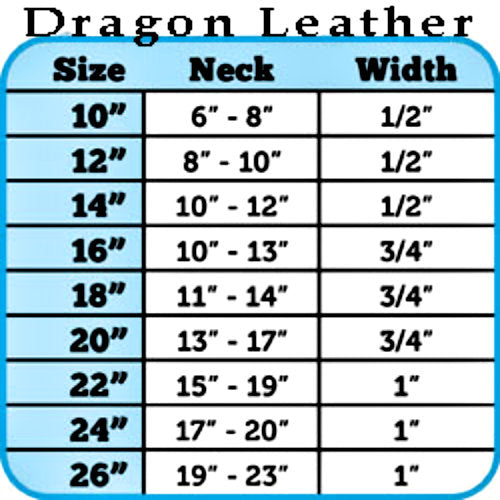 Dragon Pet Collar in silver sizing chart