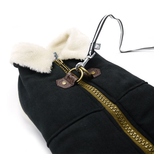 Furry Black Runner Dog Coat - dog-collar-fancy