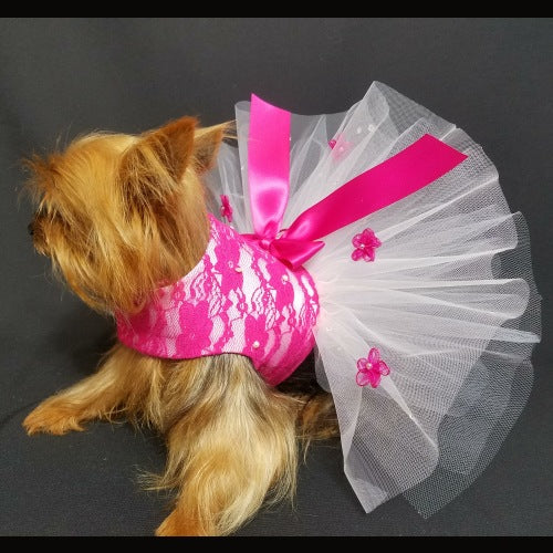 Fuchsia Lace and Pearls Dog Dress - Small to Large Dogs - dog-collar-fancy