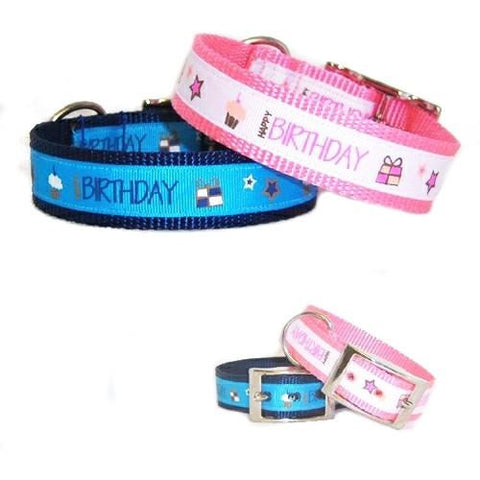 Help your dog celebrate their special day with our Happy Birthday dog collars.