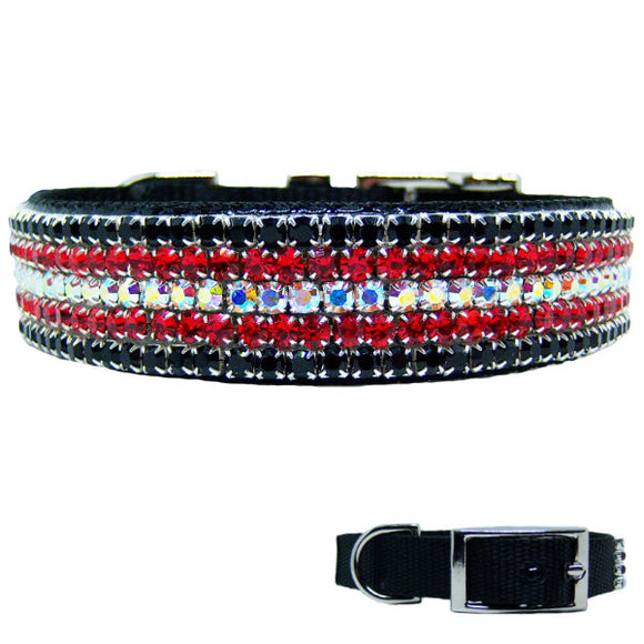 Midnight Flash crystal dog collar for medium to large dogs