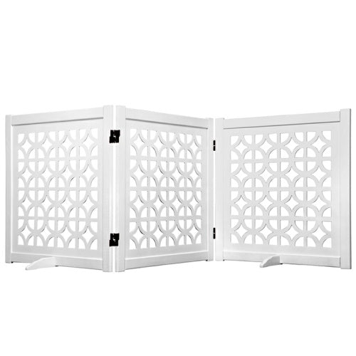 Classic White Designer Dog Gate 27 inch - For Dogs - dog-collar-fancy