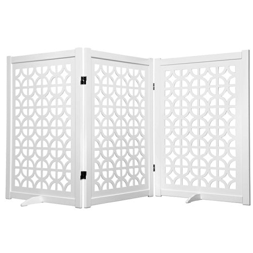 Palm Springs designer dog gate in white 36 inches tall.