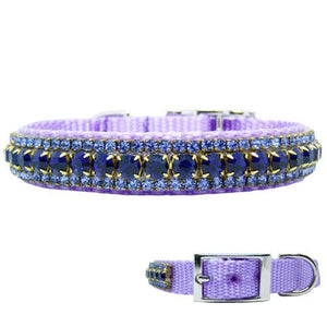 Purple crystal pet collar with plum purple and violet crystals