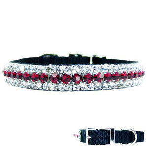 Ruby and diamonds bling pet collar for dogs and cats