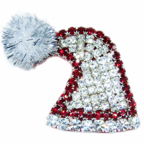 Santa Hat Brooch with Bling - Dog Collar Fancy - dog-collar-fancy