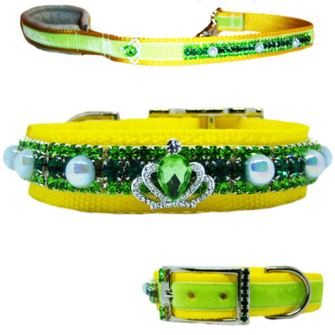 Spring Pearls Crystal Dog Collar and Leash Set - dog-collar-fancy
