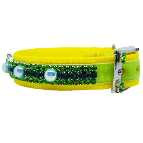 Spring Pearls crystal dog collar and leash set side view