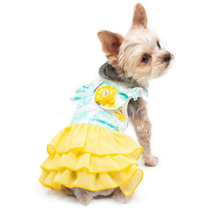 Summertime dog dress with leaves print