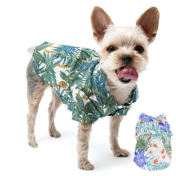 Tropical Leaves dog shirt in green or blue