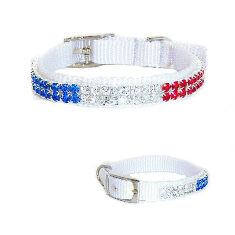 Small dog or cat Patriotic red white and blue crystal collar