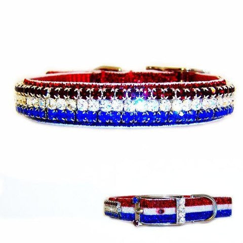 A sparkly patriotic crystal pet collar with red, white and blue crystals.