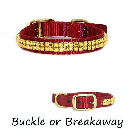 This fancy small crystal pet collar is decorated with solid aurum gold crystals.