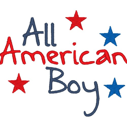 All American Boy dog shirt embroidery.