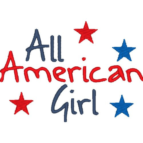 All American Girl dog shirt embroidery.
