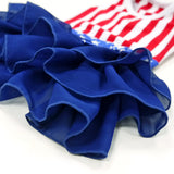 Red white blue dog dress skirt ruffle view