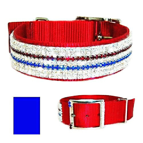 4th of July dog collar with red white and blue crystals