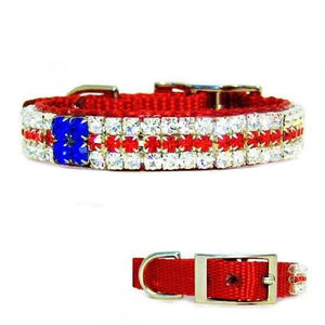 This patriotic pet collar is decorated with red, white and blue crystals.