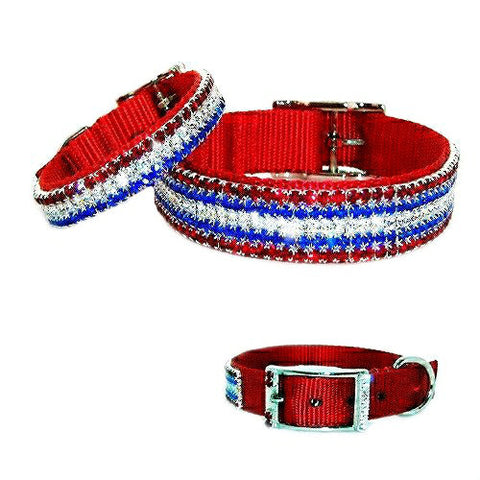 4th of July pet collar with red, white and blue crystals