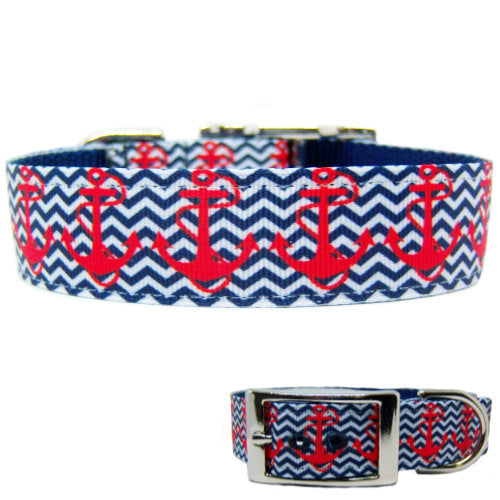 Anchors Away Printed Dog Collar