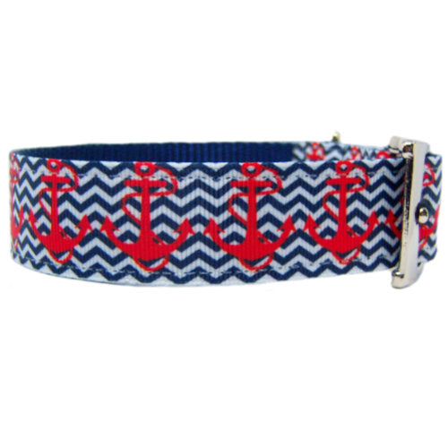 Anchors Away Printed Dog Collar side view
