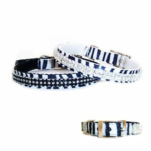 Zebra printed velvet and clear crystals decorates these fancy jeweled pet collars.
