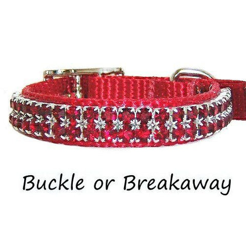 A cute pet collar in red with red crystals called the apple juice.