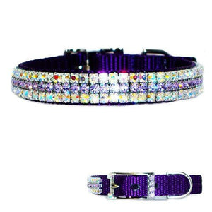 Our heavenly violet crystal pet collar is made in purple with violet and aurora borealis crystals.