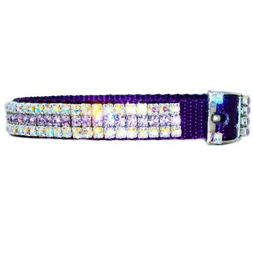Heavenly violet crystal jeweled pet collar side view.