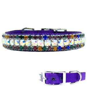 Aurora Borealis and multicolored crystal jeweled pet collar