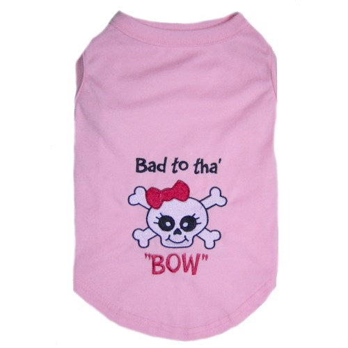 Embroidered skull with pink bow dog shirt.