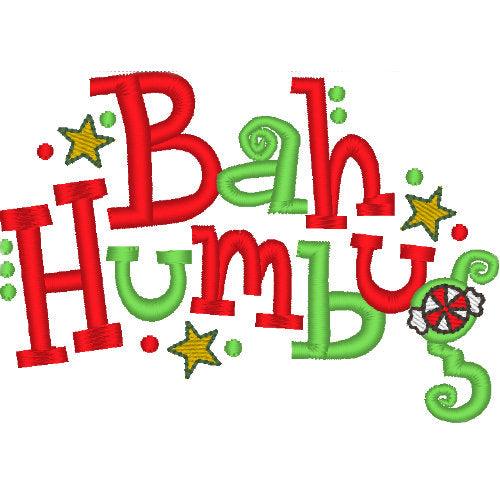 Bah Humbug Christmas Dog Shirt embroidery