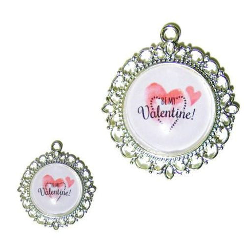 Be My Valentine double hearts printed photo pet tag charm.