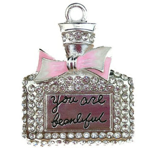 Perfume bottle big dog charm with the words You are beautiful.