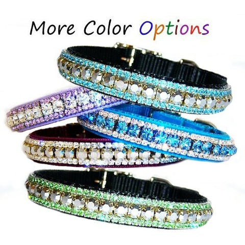 Custom crystal pet collar with large and small crystals.