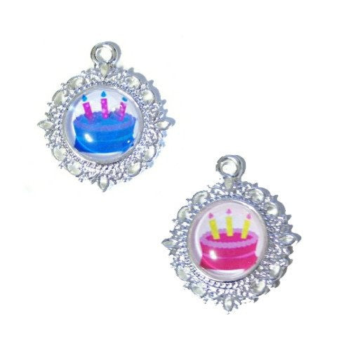 Happy Birthday Cake Dog Tag - pet charm - dog-collar-fancy