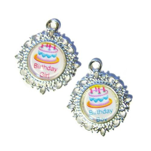 Cute birthday girl or boy pet tags with birthday cake photo.