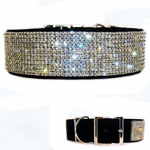 Fancy Black Diamonds 2 Inch Wide Crystal Dog Collar - For large dogs - dog-collar-fancy