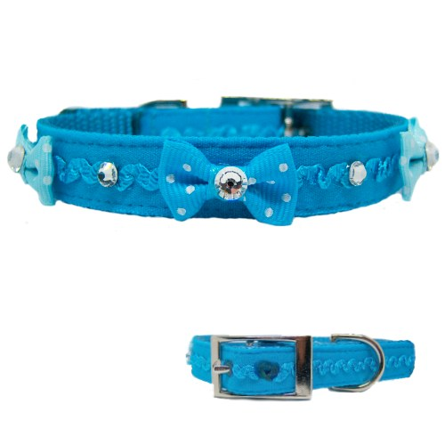 Ruffles and Bling Pet Collar in Teal - For dogs and cats - dog-collar-fancy