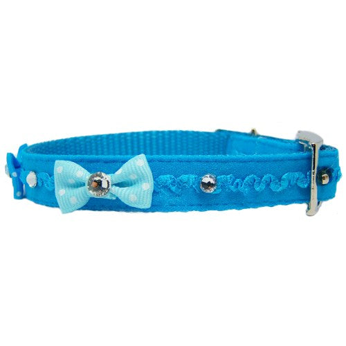 Ruffles and Bling Pet Collar in Teal side view